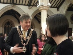 The Lord Mayor speaks to representatives of 'Crisis'.