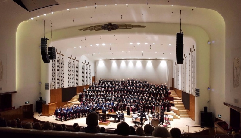 Birmingham Festival Choral Society, Liverpool Welsh Choral and Belvedere Academy on stage at the Philharmonic Hall, Liverpool. Picture taken by the Belvedere Academy
